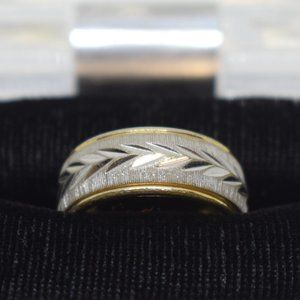 18K Gold Electroplated Men's Wedding Ring Size 6